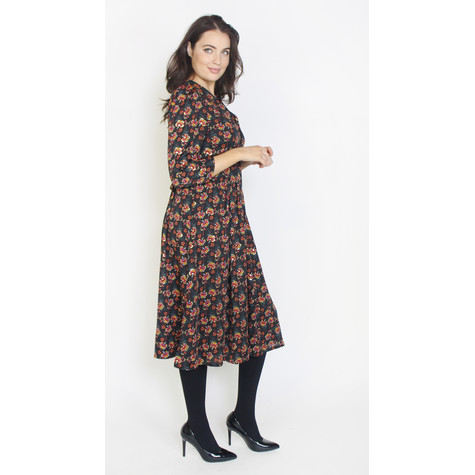 Zapara Dark Purple Floral Print Button Up Dress