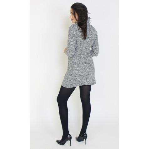 SophieB Grey & Black Cowl Neck Dress