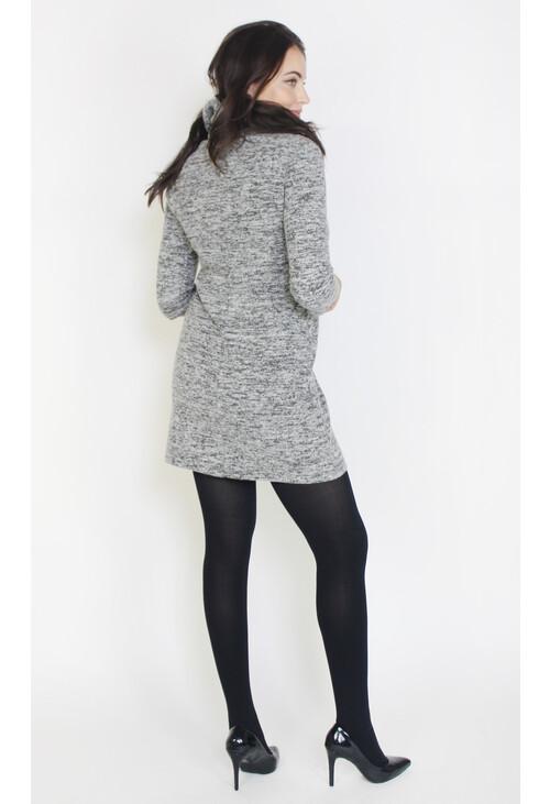 Sophie B Grey & Black Cowl Neck Dress
