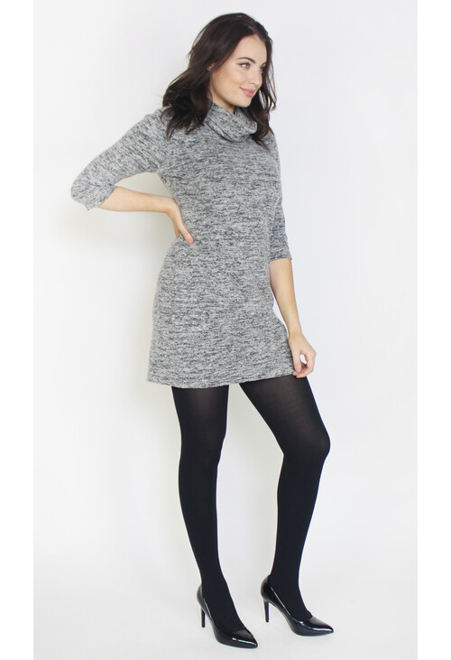 Sophie B Grey & Black Cowl Neck Dress