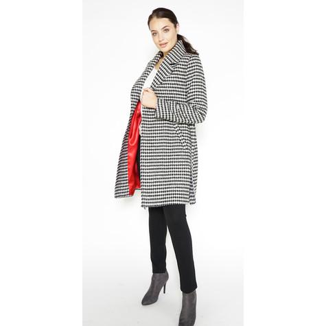 Zapara Black & White Check Long Coat