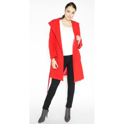 SophieB Red Belted Big Shawl Coat