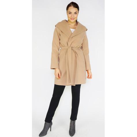 SophieB Camel Big Shawl Belted Coat