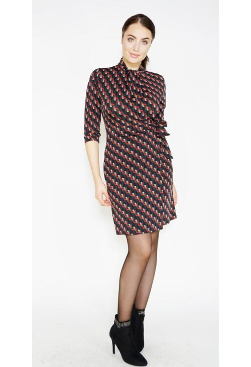 Zapara Black Geometric Pattern Print Dress
