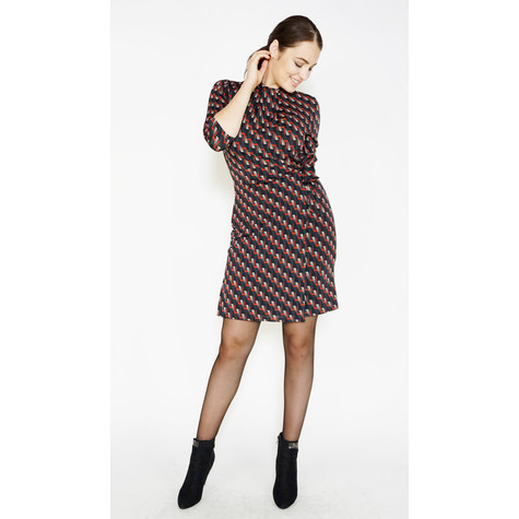 Zapara Black Geometric Pattern Print Dress