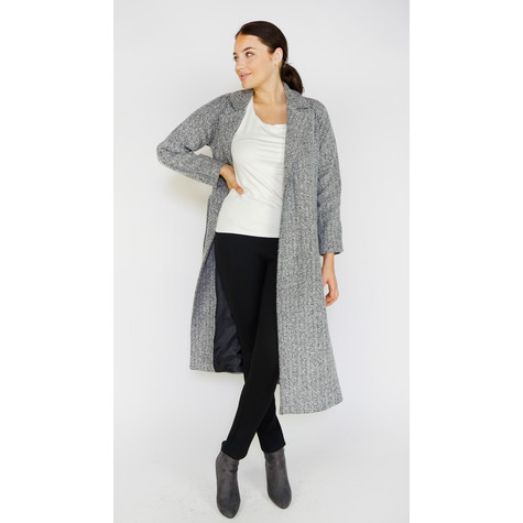Zapara Black Herringbone Long Winter Coat