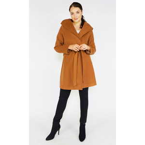 SophieB Cognac Big Shawl Winter Coat
