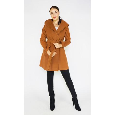 SophieB Cognac Big Shawl Winter Coat