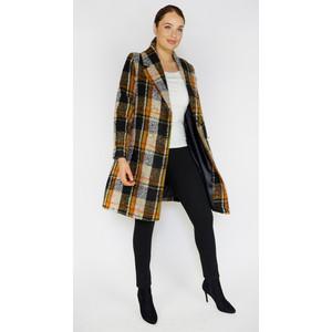 Zapara Ochre & Black Check Winter Coat