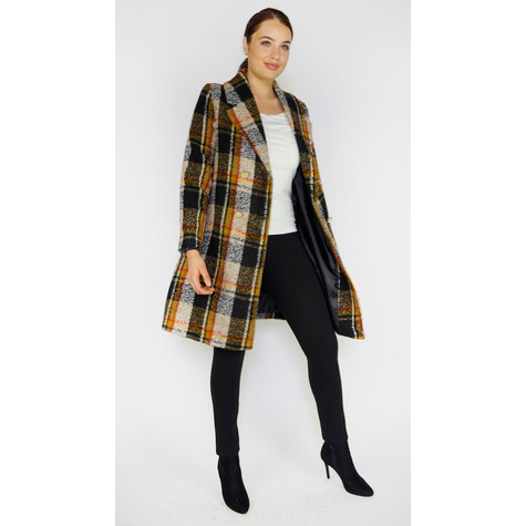 Zapara Ochre & Black Check Winter Coat