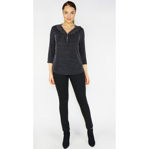 SophieB Black & Silver Glitz Zip V-Neck Top