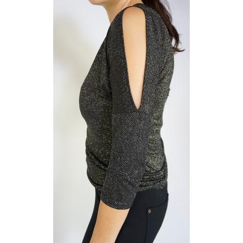 Zapara Black & Gold Cold Shoulder Top