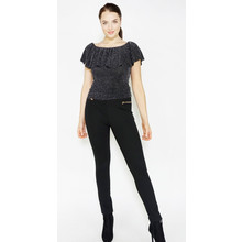 Zapara Black & Silver Frill Shoulder Top