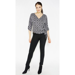 SophieB Black & Silver Glitter V-Neck Top