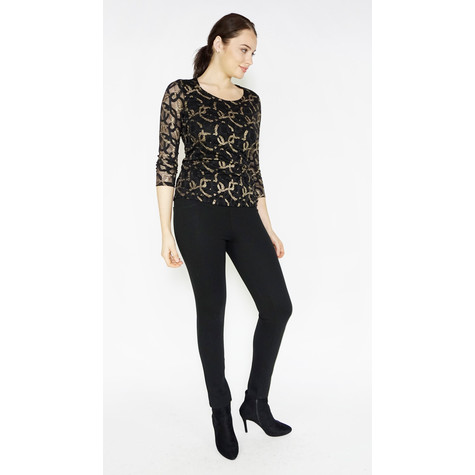SophieB Black & Gold Mesh Sleeveless Top