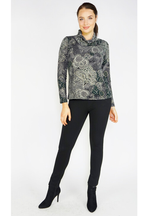 Sophie B Green Floral Oriental Cowl Neck Top