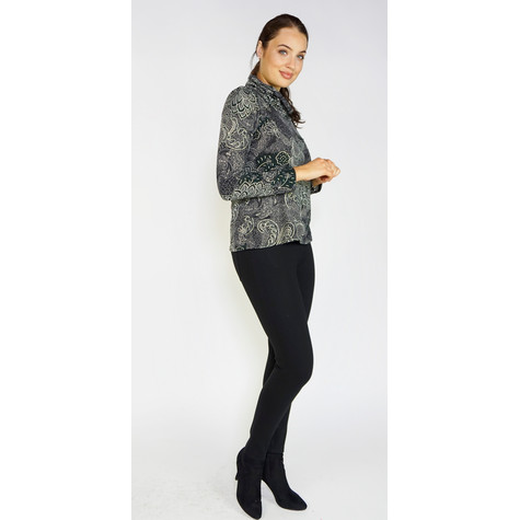 SophieB Green Floral Oriental Cowl Neck Top