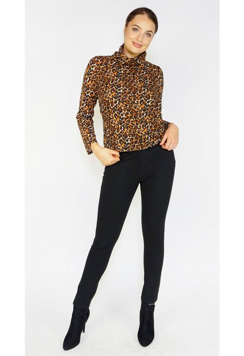 Sophie B Leopard Print Cowl Neck Top