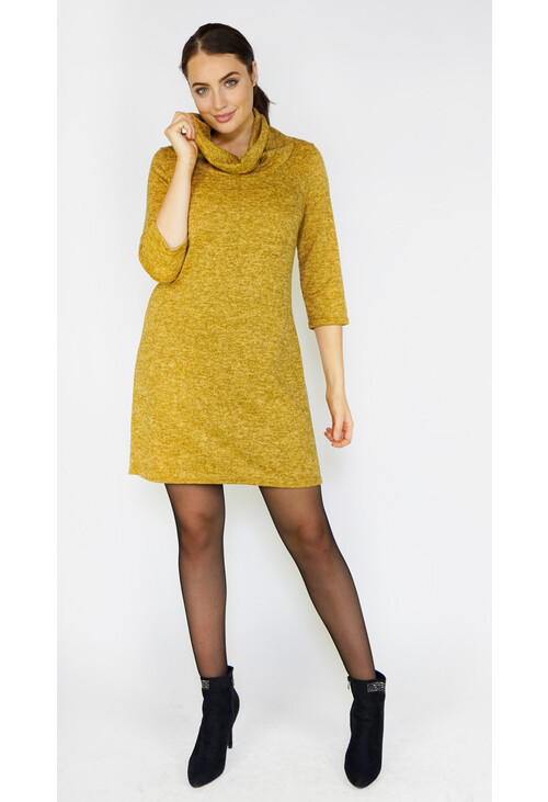 Zapara Ochre Cowl Neck Dress