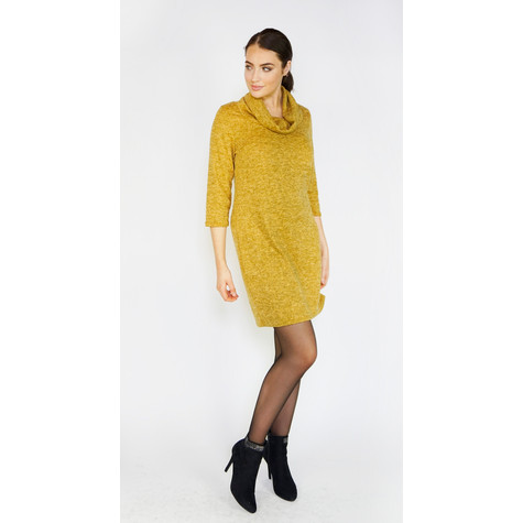 Zapara Ochre Cowl Neck Dress