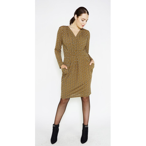 Zapara Mustard Small Flower Print Dress
