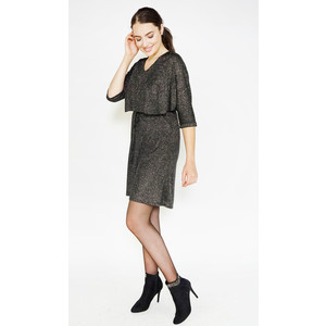 Zapara Black & Gold Cape Shimmer Dress