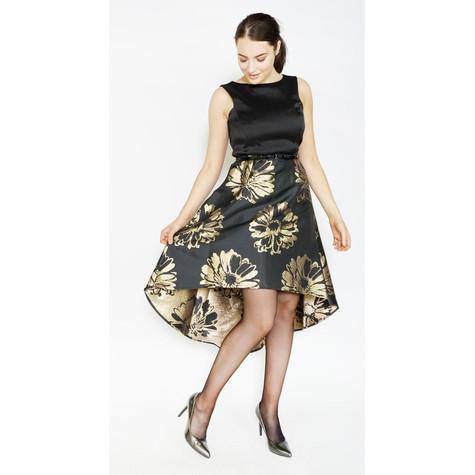 Donna Ricco Black & Gold Brocade Long Dress