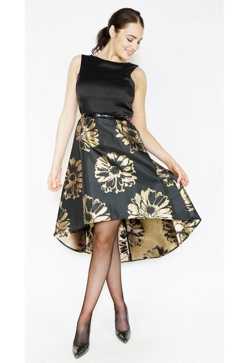 Donna Ricco Black & Gold Brocade Long Dress