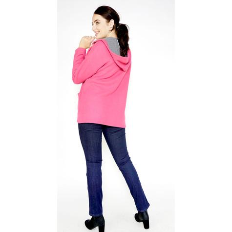 Twist Fushia & Grey Soft Touch Hoodie Knit