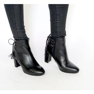 Emella Black Ankle Tie Strap Boots