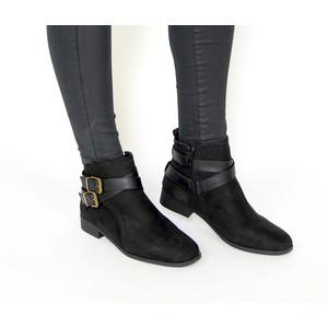 Emella Black Suede Double Buckle Boot