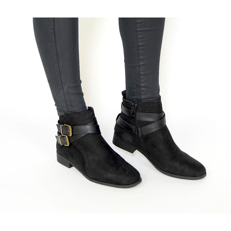 Emella Black Suede Double Buckle Boot