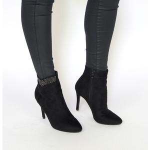 Bella Black Diamante High Top Heels