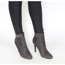 Belle Woman Grey Diamante High Top Heel Boots