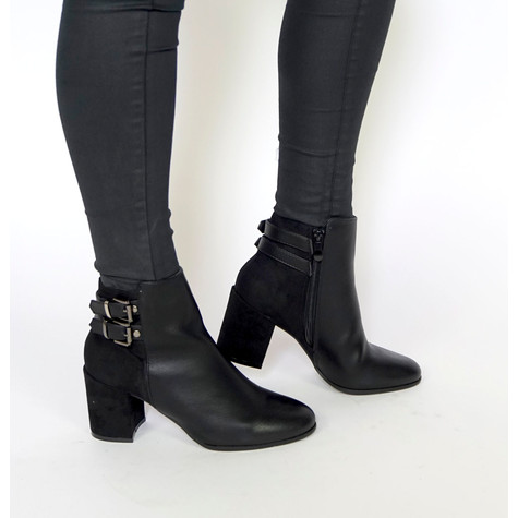 Girlhood Black Suede Buckle Detail Boots
