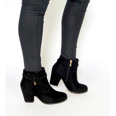 Vice Verso Black Suede Block Heel Boot