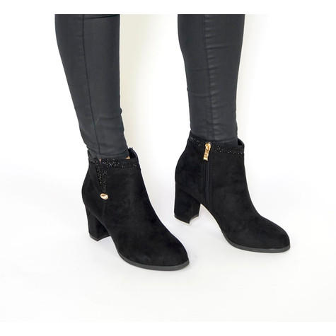 Vice Verso Black Suede Diamante Detail Boots