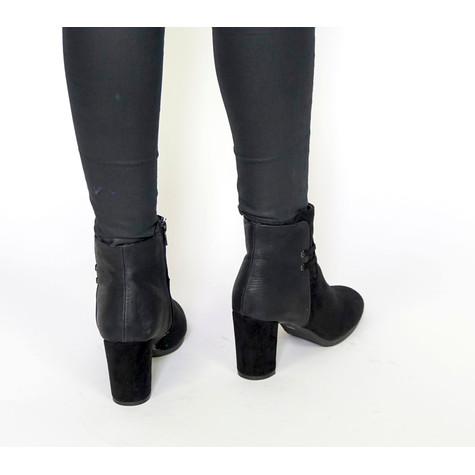 Vice Verso Black Suede & Leather Ankle Boot