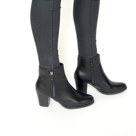 Pamela Scott Black Double Zip Ankle Boots
