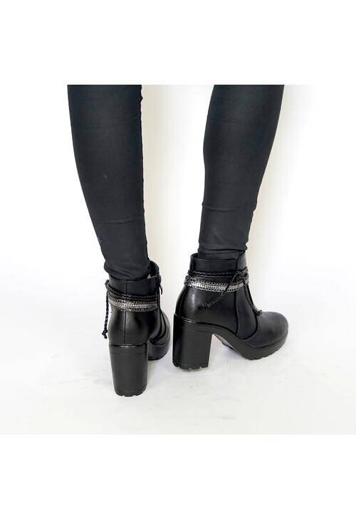 Emella Black Strap Detail Boots
