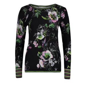 Betty Barclay Black/Dark Green Floral Print Knit