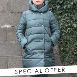 Laura Jo Bottle Green Padded Jacket - NOW €50