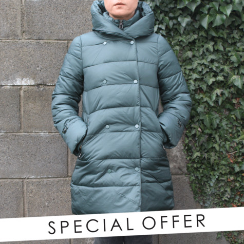 Laura Jo Bottle Green Padded Jacket - NOW €60
