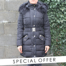 Kelya Black Faux Fur Parka Coat - NOW €60