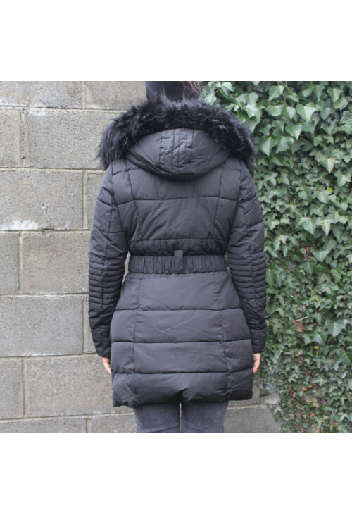 Pamela Scott Black Faux Fur Parka Coat