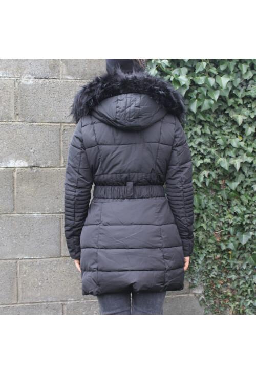 Pamela Scott Black Faux Fur Parka Coat