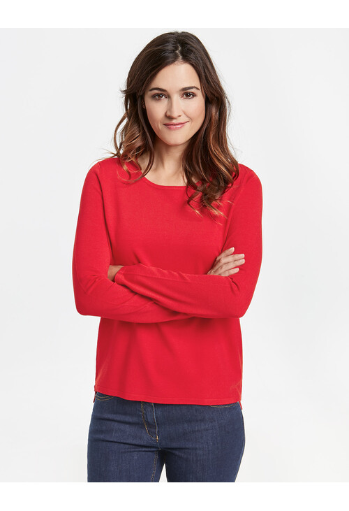 Gerry Weber Cherry Sweater with contrast stripes