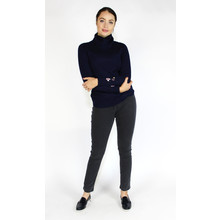 YOU YOU Navy Turtle Neck Embroidery Sleeve Knit