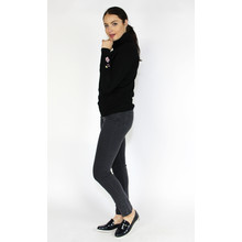YOU YOU Black Turtle Neck Embroidery Sleeve Knit
