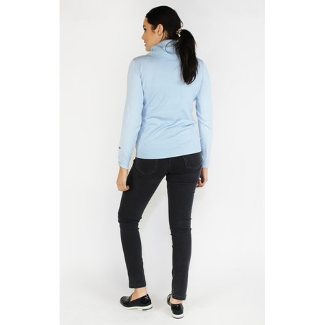 YOU YOU Cyan Turtle Neck Embroidery Sleeve Knit